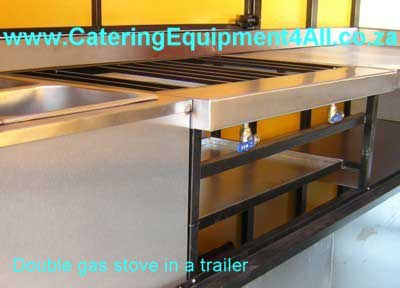 Photo: Double gas stove in a food trailer